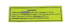 bild 1 produkt: Varningsdekal (gul med svart tryck)
